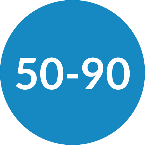 Blue Circle with 50-90 Written in the Middle