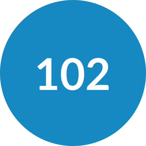 Blue Circle with 102 Written in the Middle
