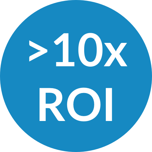 Blue Circle with >10x ROI Written in the Middle