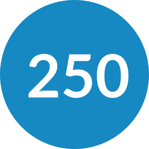 250 in a Blue Circle